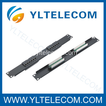 1U 19 polegadas 12port tipo Patch Panel Cat. 5E e Cat. 6