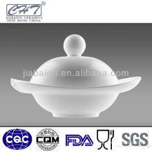 White bone china soup bowl with lid