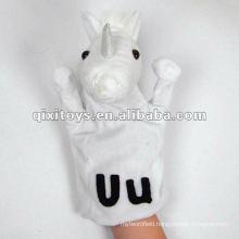 lovely white plush unicorn hand puppet