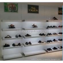 Knock Down Wall Mount 5 Layer Illuminated Wooden Shelving Metal Sealed Retail High Heel Shoe Display