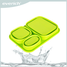 Fácil de comida para llevar Contenedor para caja de almuerzo Bento de silicona a prueba de fugas