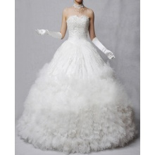 A-line Princess Sweetheart Strapless Floor-length Lace Oraganza Ruffled Wedding Dress