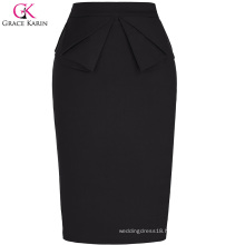Grace Karin Womens Solid Color High Stretchy Hips-Wrapped Vintage Retro Black Pencil Skirt CL010454-1