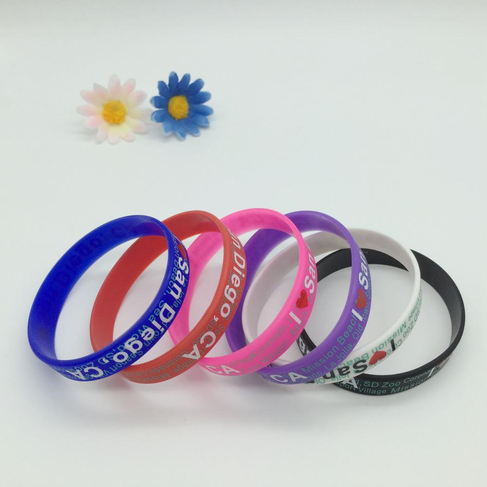 Silk screen printed silicone bracelet