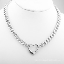 Ladies Fashion Sexy Stainless Steel Jewelry Pendant Hollow Heart Shaped Silver Jewelry Necklace Valentine's Day Gift