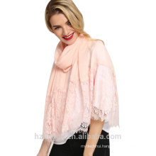 Tingyu special design long fashion arabic muslim women soft wide cotton lace trim hijab scarf