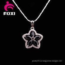 Collar de la joyería de la piedra negra de la forma de la flor