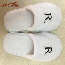 White soft washable hotel plush slipper with logo