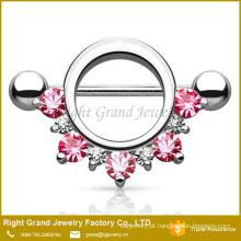 Círculo-de-rosa vermelho forrado jóias CZ cirúrgico aço 14g Barbell mamilo anel jóia do corpo