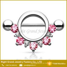 Círculo rosa rojo forrado gemas CZ acero quirúrgico 14G barbell pezón anillo joyería del cuerpo