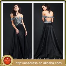 ARC-01 2015 nuevo vestido de partido de la fiesta de la ocasión del diseño de la manera de los pescados pesados rebordeados pesados del negro del barco de la mancha de los vestidos de noche de la mancha Turquía