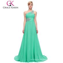 Grace Karin Wholesale A line One Shoulder Aquamarine Chiffon Beaded Long Bridesmaid Dresses CL2949-6