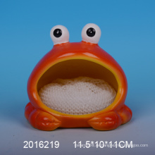 Dekorative keramische Schwammhalter mit Frosch Design