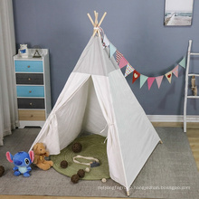 gray cotton canvas kids tipi playhouse with mat