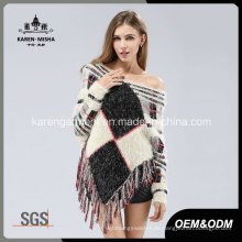 Lady Hairy Langarm Quasten Geometrische Muster Strick Poncho Sweater