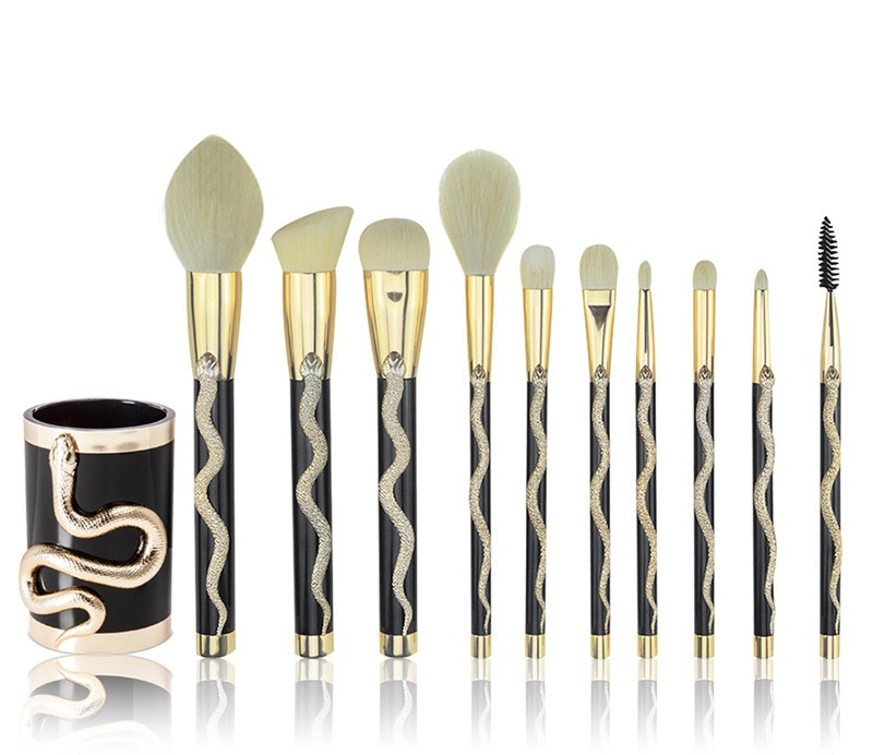 10 Pcs Snake Makeup Brush Set