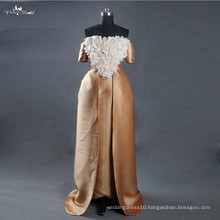 LZ165 Alibaba Celebrate Dress Egypt Gold Wedding Dresses With Detachable Train Hand Make Flowers