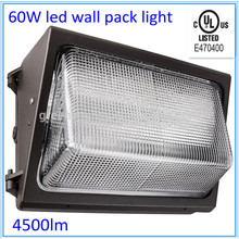 UL 60w led wall pack light 100-277v 90degree