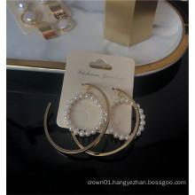 Factory wholesale new design pearl dangle hoop earrings