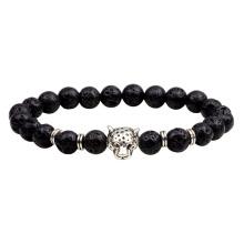 Custom mens leopard head lava stone bracelet