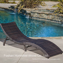Outdoor PE Wicker Folding Chaise Lounge Chair