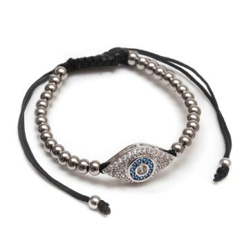 Mens Evil Eye Micro Diamonds Agate Beads Bracelet