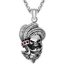 Punk Skull Men Necklace Joyas de moda de acero inoxidable 316L