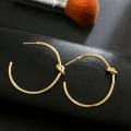Женщины Простой любовный узел Большие золотые серьги обруча