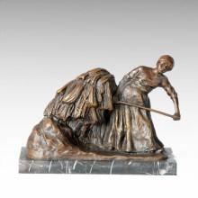Eastern Life Statue Village Straw Bronze Figure Sculpture TPE-381