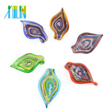 Oil Painting Style Leaf Shaped Lampwork Murano Handmade Glass Pendants For Jewelry Necklace Making 12pcs/box, MC0015