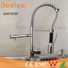 Colored Kitchen Faucet Two Heads Deck Mount Hot and Cold Water Pull Down Spring Kitchen Sink Faucet