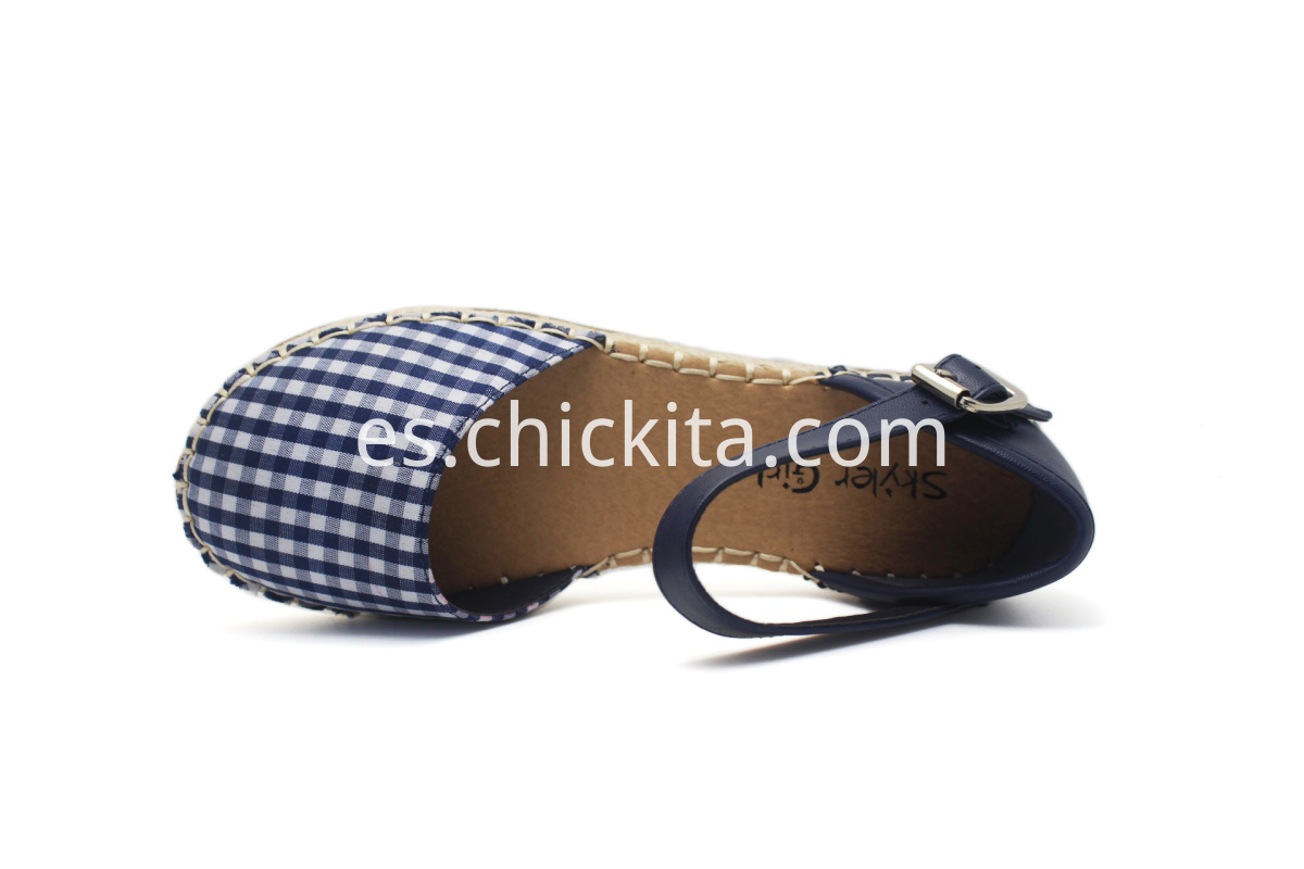 Plaid Hemp Outsole Girl Shoes