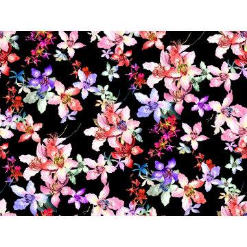 Schwarzer Nylon Kimono bedruckter Bademode Stoff (ASQ100)
