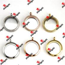 Aço cor / rosa ouro cor / ouro cor redonda de aço inoxidável lockets (lsk60128)