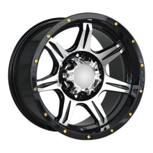Black Machine Face Golden Rivets Alloy Wheels