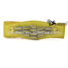 2015 New Design Yellow Fashion Elastic Wide PU Belts Wholesale BC3886-1