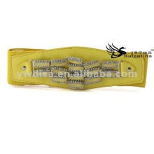 2015 Nova Design Amarelo Moda elástica Wide PU cintos Atacado BC3886-1