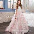 White Pink Lace Beaded Butterfly Floor-length Sleeveless Chiffon Puffy Little Queen Flower Girl Dress