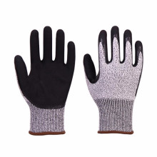 Nitrile Coating  HPPE Cut 5 Resistant Anti Cutting And Anti Oil Machine Work Glove