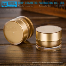 YJ-A10 10g de bonita e popular cor dourada alta qualidade pequeno atacado acrílico jar