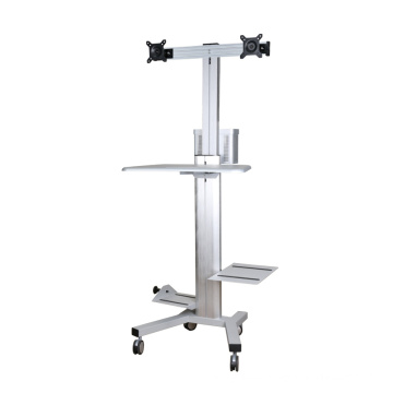 """Mobile Computer Workstation Dual Monitors 10-24"""" Height Adjustment (PC 1602BS)"""