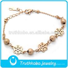Bracelet Fantaisie Couleur Or Rose Avec Fleur Exquise Pour Femmes