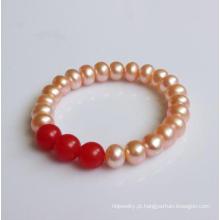 Pérola de água doce natural com ágata vermelha esticada pulseira (EB1576)