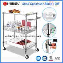 NSF cromo metal fio cozinha carrinho de armazenamento de alimentos carrinho