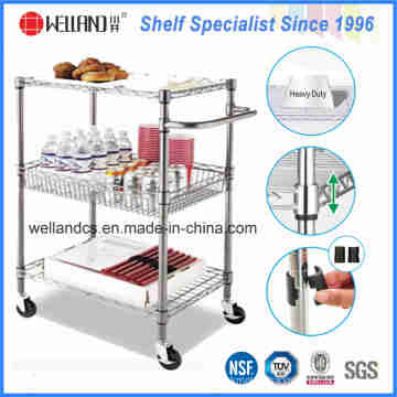 NSF Chrome Metal Wire Kitchen Food Storage Cart Trolley
