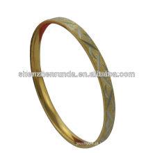 Pulseira de aço inoxidável 18k banhado a ouro simples para mulheres