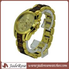 Cor de ouro ligado marmoreio pulseira de plastico moda relogio de pulso