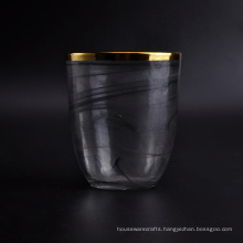 Handmade Black Candle Jar with Gold Top