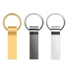 Impermeável de metal prateado com disco de memória de chaveiro