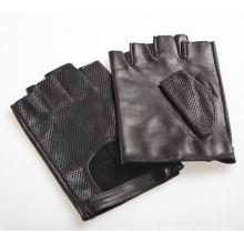 Couro de pele de cabra moda masculina sem dedos luvas de esportes de condução (yky5201-1)